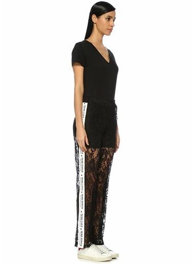 Forte Couture Logo Şeritli Transparan Dantel Pantolon Siyah